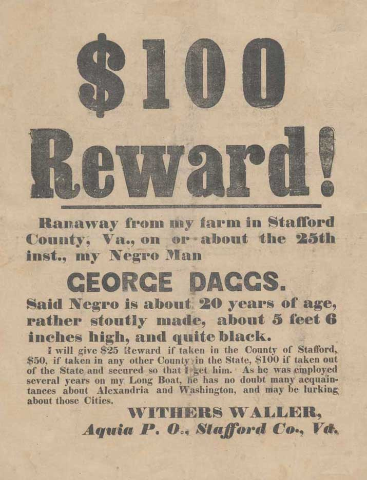 $100 Reward for runaway slaves