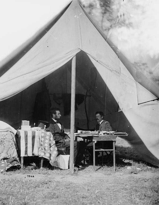 President Lincoln conferring with General McClellan after Antietam