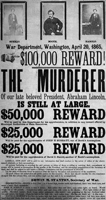 Lincoln assassination conspirator's broadside offering reward for their capture