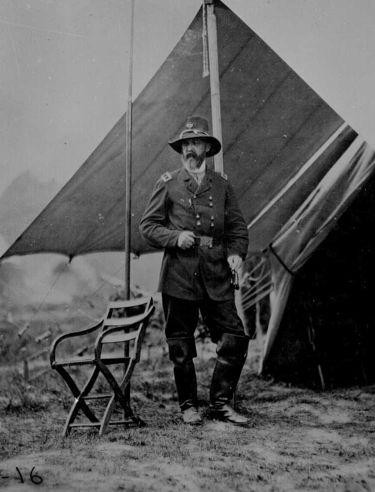Major General George G. Meade standing in front of his tent June 1864