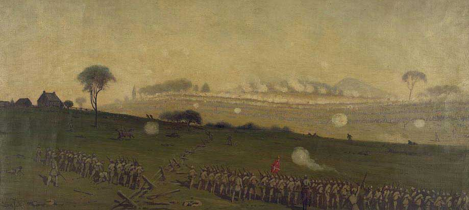 Pickett's charge on the Union center at the grove of trees about 3 PM by Edwin Forbes