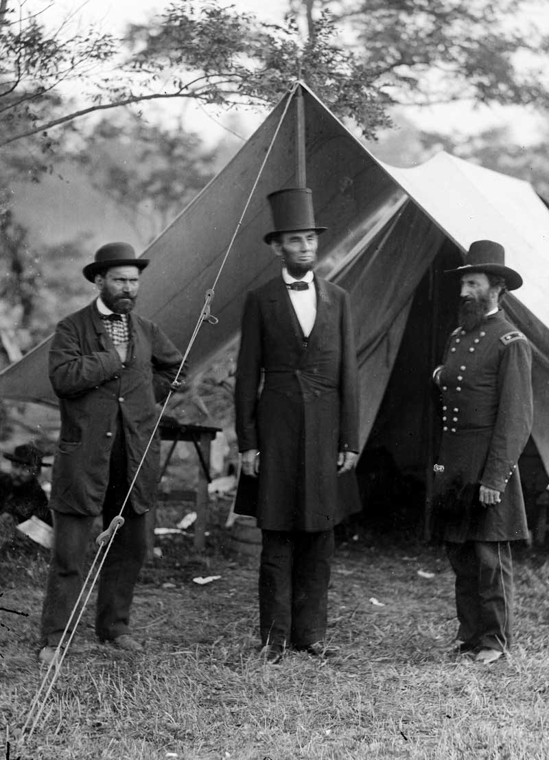 Civil War photograph of Allan Pinkerton (left) with Abraham Lincoln and Major General John A. McClernand