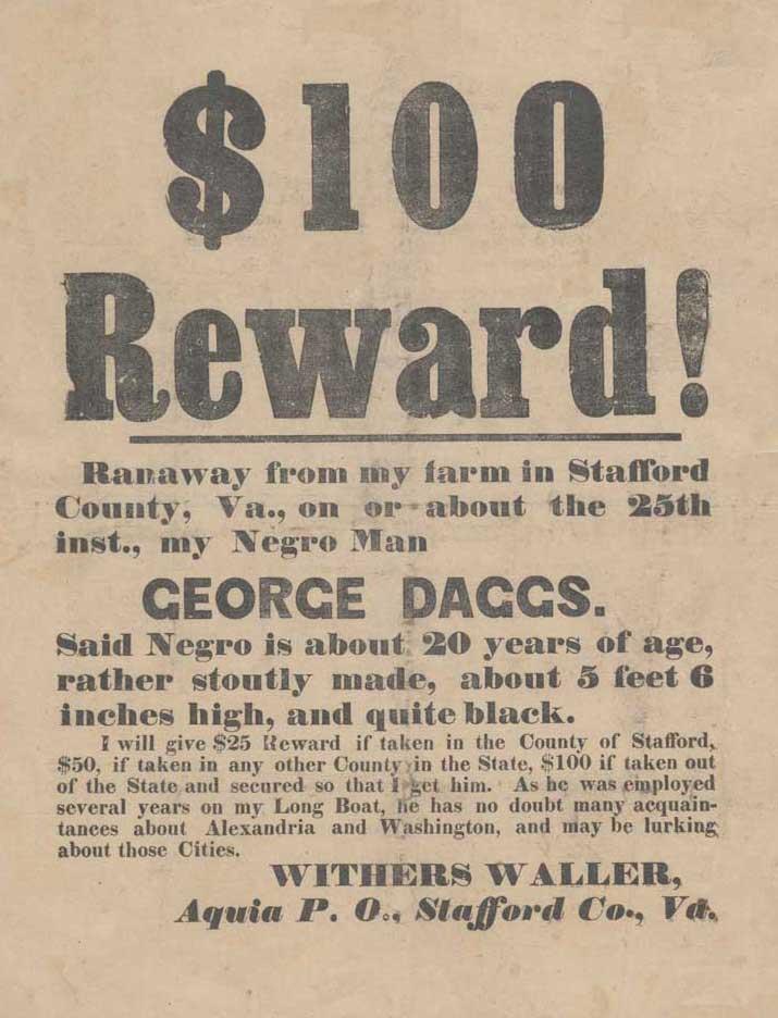 $100 Reward for runaway slaves