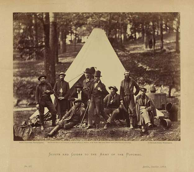 Civil War photograph of scouts and guides to the Army of the Potomac, 1862