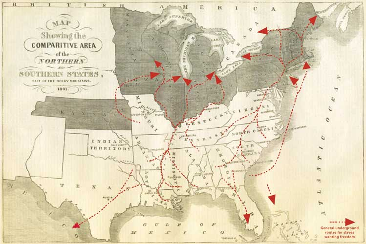 Escaping slave proposed routes