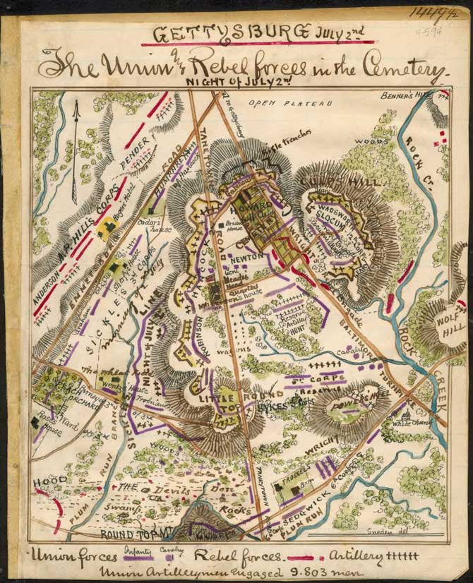 Gettysburg July 2nd The Union and Rebel forces in the cemetery by Robert Sneden