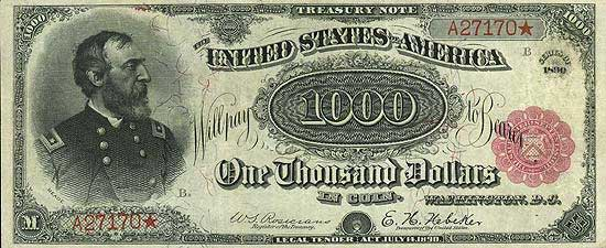 one-thousand-dollar Treasury Note, also called Coin notes, features image of General Meade