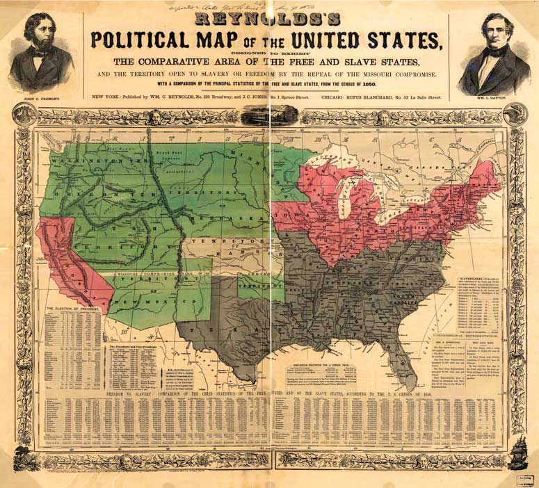 Reynolds Political Map 1856, free and slave states